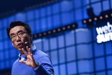David Eun, Chief Innovation Officer, Samsung Electronics & President, Samsung NEXT , Samsung, on Centre Stage during the opening day of Web Summit 2019 at the Altice Arena in Lisbon, Portugal.