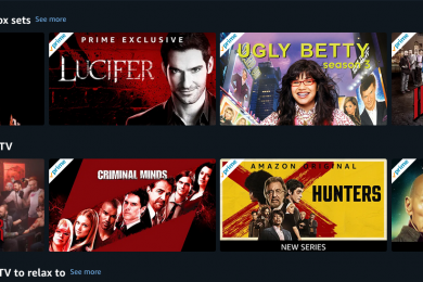 Amazon Prime Video user interface