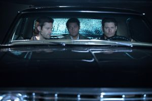 Jared Padalecki, Misha Collins and Jensen Ackles in Supernatural (Picture: The CW)
