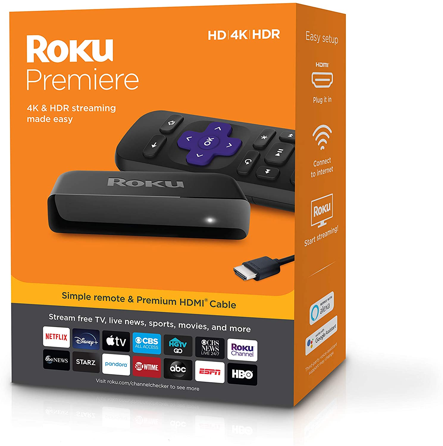 Roku Premiere HD 4K HDR Streaming Media Player, Simple Remote and Premium HDMI Cable